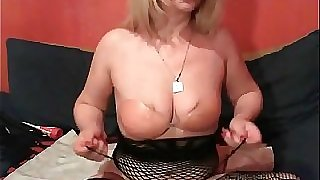 Blonde mature playthings her both fuck holes on cam