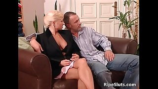 Mature damsel and blonde sex bomb getting