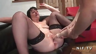 French mature hard anal nailed and double knuckle fucked