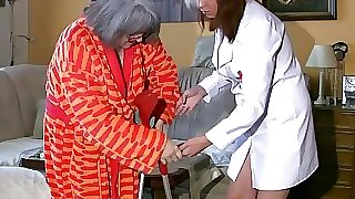 BBW lush Nurse masturbate with old Granny