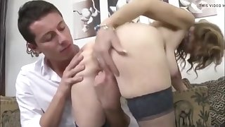 busty mature milf loves creampie with her young roommate